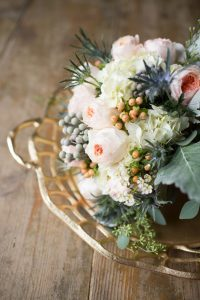 metal and wood wedding details
