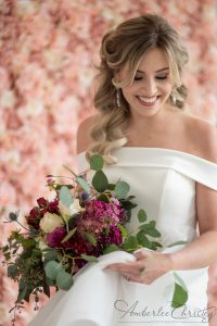 2020 wedding planning, bride with pink and white bouquet, bride with pink flower wall
