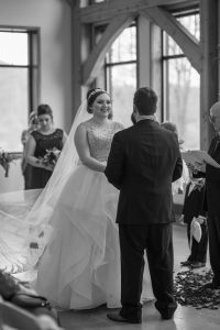 stonewall resort lobby wedding, black and white wedding photo, bride and groom exchanging wedding vows, wv wedding video