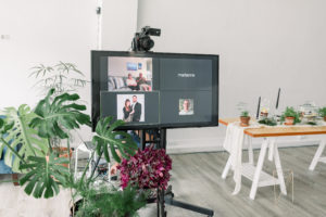 wedding ceremony livestream, tv displaying virtual wedding guests